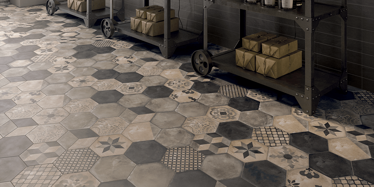 Terra Cement-Look Hexagon Porcelain Floor Tile
